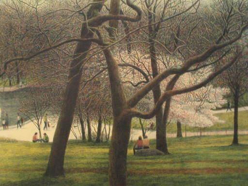 """Harold ALTMAN - Estampe-Multiple - """"Le Parc"""" 1986"""