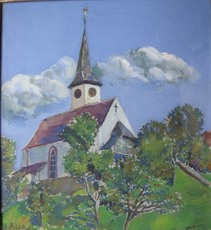 Gerhard BÜHLER - Dessin-Aquarelle - Kilchli vo Walkringen Kanton Bern