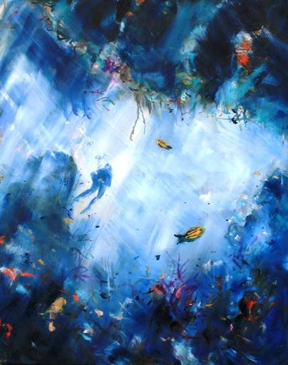 Roger BOUBENEC - Peinture - promeneur sous-marin
