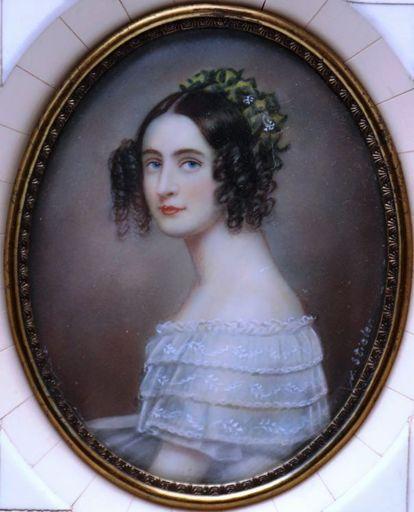 Josef Karl STIELER - Miniatura - c. 1828 Portrait of Princess Alexandra Amalie of Bayern