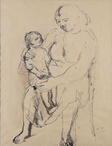 Bruno SAETTI - Drawing-Watercolor - donna con bambino