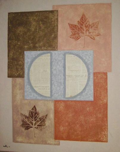 Francesc SALES ROVIRALTA - Painting - Compisicion con hojas