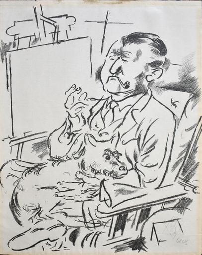 George GROSZ - Grabado - Self-Portrait with Dog in Front of the Easel: The Creators