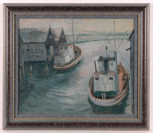 """Frederick SERGER - Painting - """"Fisher Harbour"""", Oil on Canvas, 1946"""