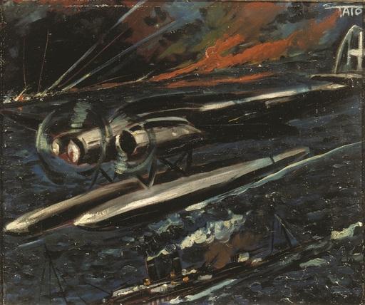 Guglielmo Sansoni TATO - Pittura - Aerosilurante italiana a caccia di torpediniere