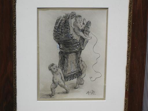 Adolph VON MENZEL - Dibujo Acuarela - Putten mit Handschuh