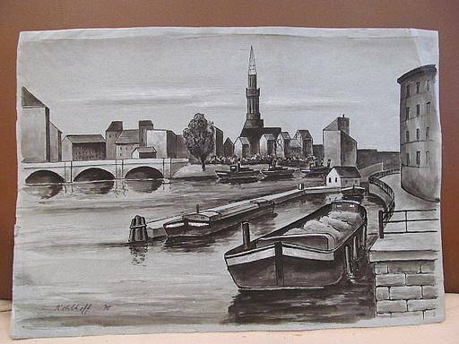 Walter KOHLHOFF - Disegno Acquarello - Alt-Berlin, der Osten. Landwehrkanal ?