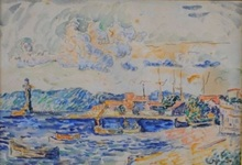 Paul SIGNAC - Drawing-Watercolor - Le port de Saint-Tropez
