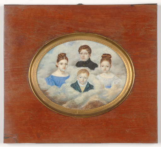 "Hippolyte CHAPON - Miniatur - ""Group portrait of four little brothers and sisters"", large"