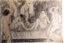 Jean SOUVERBIE - Dibujo Acuarela - Femmes à la rivière