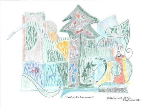 "Reine BUD-PRINTEMS - Zeichnung Aquarell - ""L' Arbre à chaussures"""