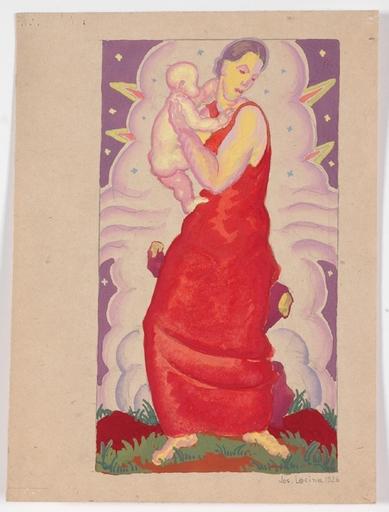 Josef LACINA - Dibujo Acuarela - Art Deco Madonna, 1926, gouache