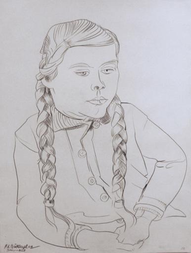 Peter August BÖCKSTIEGEL - Dessin-Aquarelle - Bauernkind