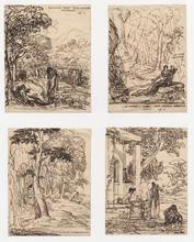 Anne-Louis GIRODET - Dibujo Acuarela - Quatre illustrations pour les Eglogues de Virgile