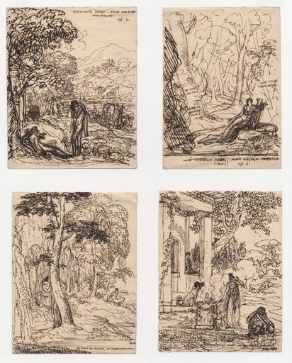 Anne-Louis GIRODET - Drawing-Watercolor - Quatre illustrations pour les Eglogues de Virgile