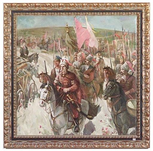 """Arkadi RUSIN - Peinture - """"Cossacks"""" by Arkadi Rusin, 1976-78"""