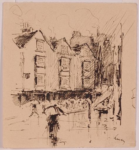 "Marino LUSY - Dessin-Aquarelle - ""Rain in Paris"" by Marino M.Lusy, early 20th Century"