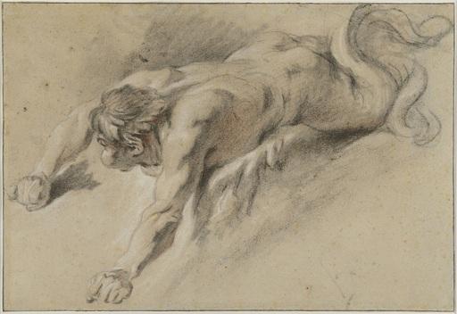François BOUCHER - Drawing-Watercolor - Étude prépartoire pour un génie des vents