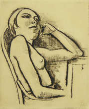 卡尔·霍费尔 - 版画 - Nude in the Chair | Halbakt im Stuhl