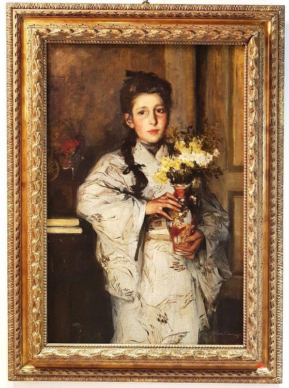 Vittorio CAVALLERI - Painting - Ragazza in chimono