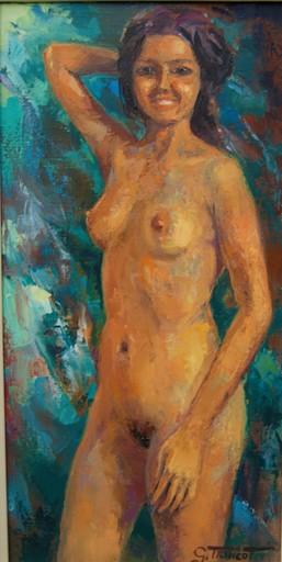 Georges TRINCOT - Painting - Jeune femme nue debout.
