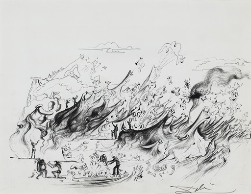 Salvador DALI - Drawing-Watercolor - What the countryside will look like in 1987