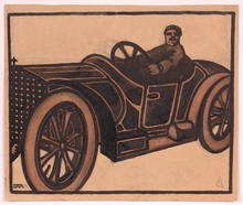 "Anton Josef STORCH - Drawing-Watercolor - ""A Proud Driver"", Drawing, 1910s"
