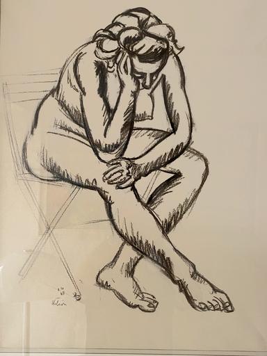Jean HÉLION - Dessin-Aquarelle - Nu à la chaise
