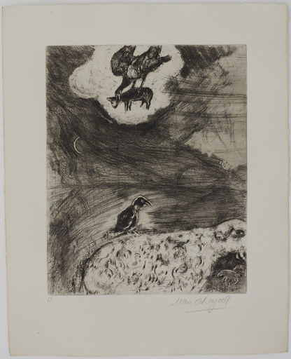 Marc CHAGALL - Druckgrafik-Multiple - The Crow who wanted to imitate the Eagle