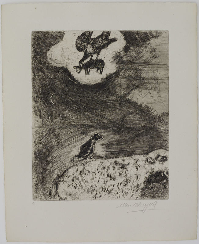 Marc CHAGALL - Grabado - The Crow who wanted to imitate the Eagle
