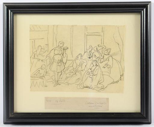 Achille DEVÉRIA - Gemälde - Scena di genere Banchetto