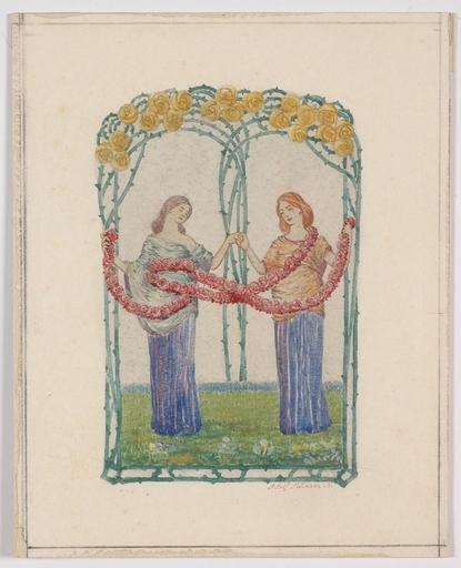 """Adolf MÜNZER - Peinture - """"Art Nouveau Design"""" Adolf Muenzer, Watercolour, 1906"""