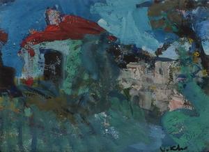 Vasyl KHMELUK - Drawing-Watercolor - La maison au toit rouge