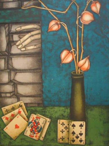 PIERRE-HENRY - Stampa Multiplo - Fleurs et cartes à jouer,1985.