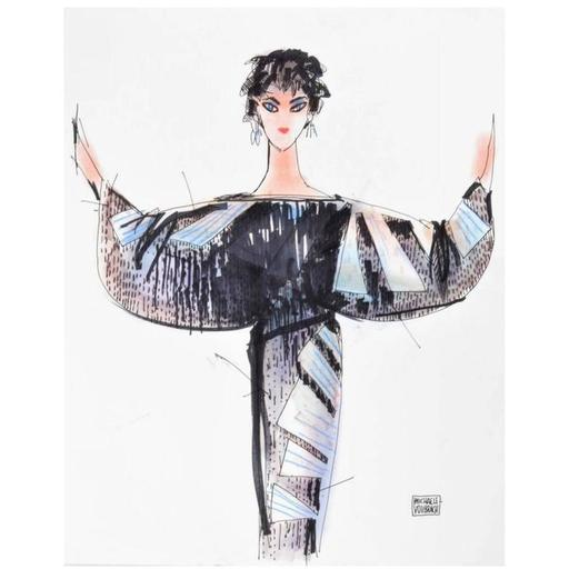 Michael VOLLBRACHT - Disegno Acquarello - Michaele Vollbracht Fashion Drawing of Liz Taylor