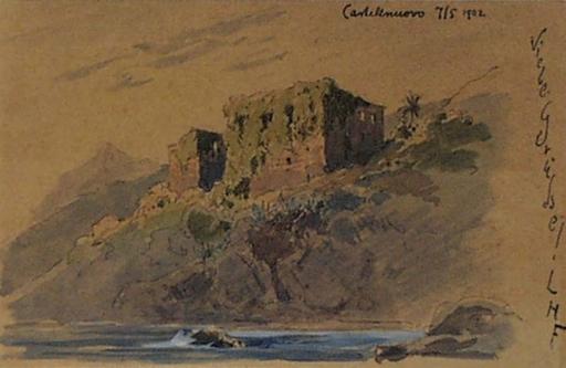 "Ludwig Hans FISCHER - 水彩作品 - ""Castelnuovo"", Watercolor, 1902"