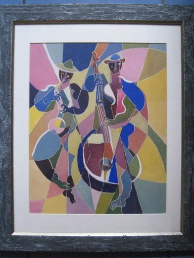 Michel MORENO - Drawing-Watercolor - LE CONTREBASSISTE  1994