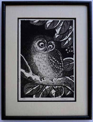 Tomikichiro TOKURIKI - Grabado - Ural Owl