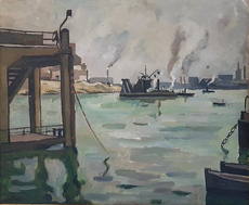 Louis Robert ANTRAL - Peinture - le port de Nantes