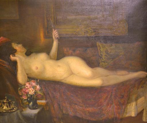 Jan WYSOCKI - Pittura - Reclining Nude with Mirror