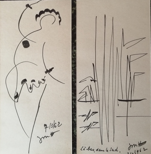 Jules MOUGIN - Dibujo Acuarela - Là bas dans le sud et sans titre