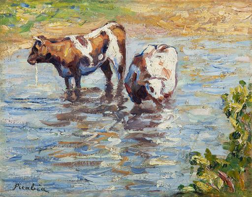 Francis PICABIA - Pintura - Deux vaches s'abreuvant