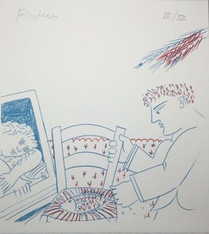 Alexandre FASSIANOS - Grabado - le poisson sur la chaise