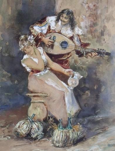 Fulvio TESSITORE - Drawing-Watercolor - Sérénade à l'auberge