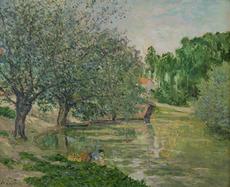Maxime MAUFRA - 绘画 - Paysage animé à la rivière