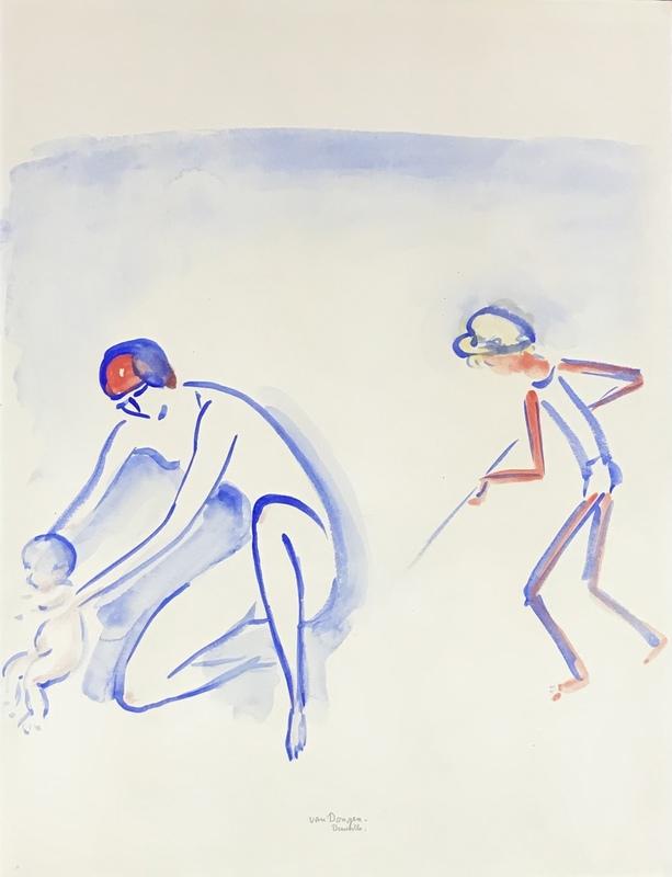 Kees VAN DONGEN - Drawing-Watercolor - Scène de plage Deauville, mère et enfants