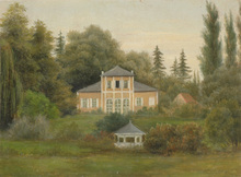 """August BECKER - Painting - """"A villa in forest"""" oil on paper"""