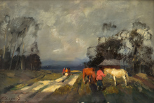 Alessio ISSUPOFF - Painting - Farmers Preparing for a Storm