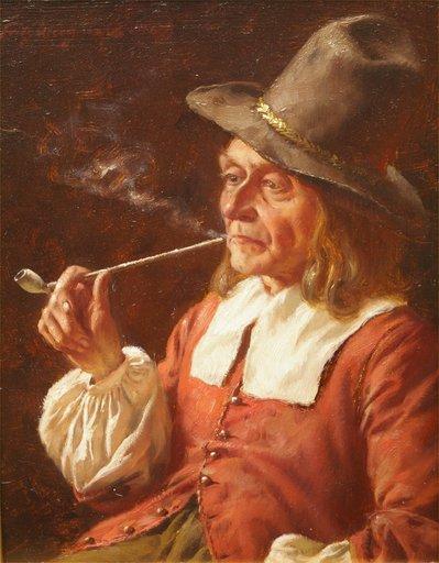 Fritz WAGENER - Pintura - A Quiet Smoke