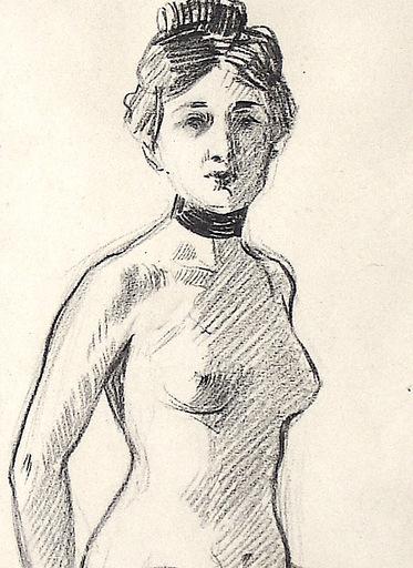 Ulpiano CHECA Y SANZ - Drawing-Watercolor - NU- femme - Desnudo  con peineta y collarín'
